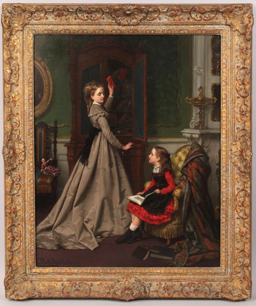 Lot 157: Jan F. P. Portielje oil on panel, genre scene