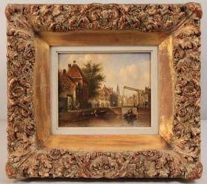 Lot 158: Dutch canal scene, attrib. J. F. Spohler