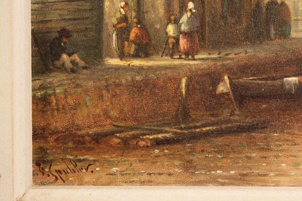 Lot 158: Dutch canal scene, attrib. J. F. Spohler