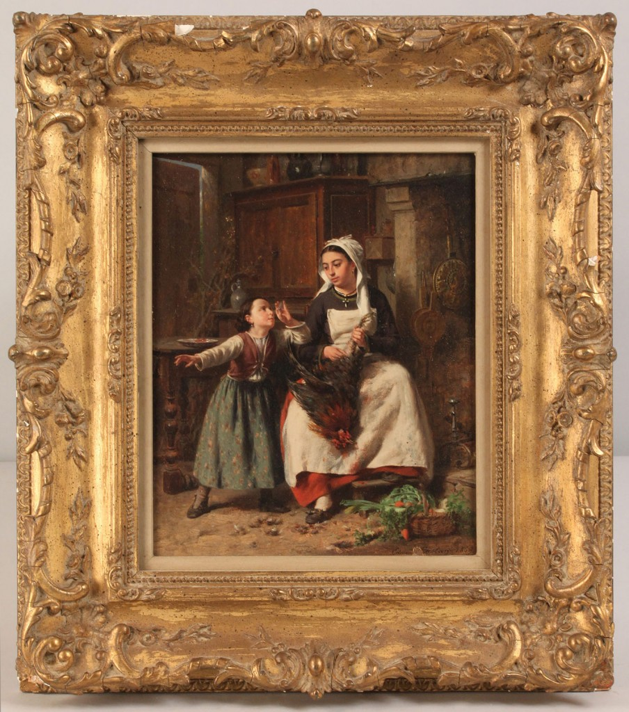Lot 159: P. J. Edmond Castan, Kitchen Scene, oil on panel