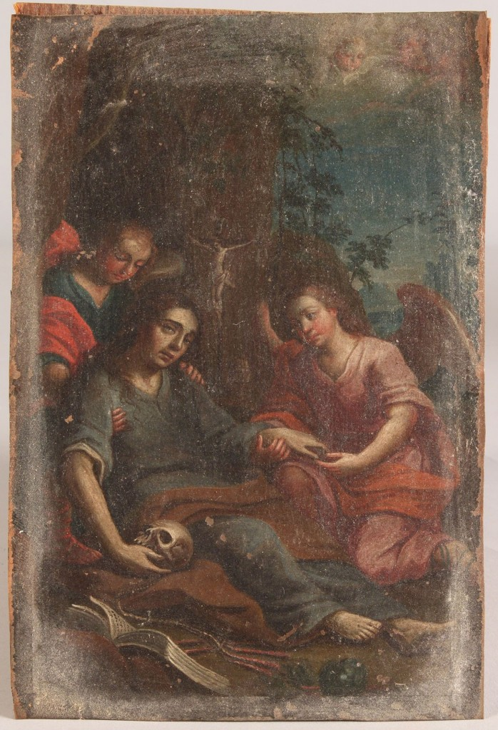 Lot 162: Oil on panel, Death of the Virgin