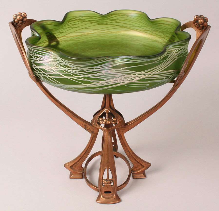 Lot 165: Loetz Art Nouveau Glass & Bronze Metal Compote