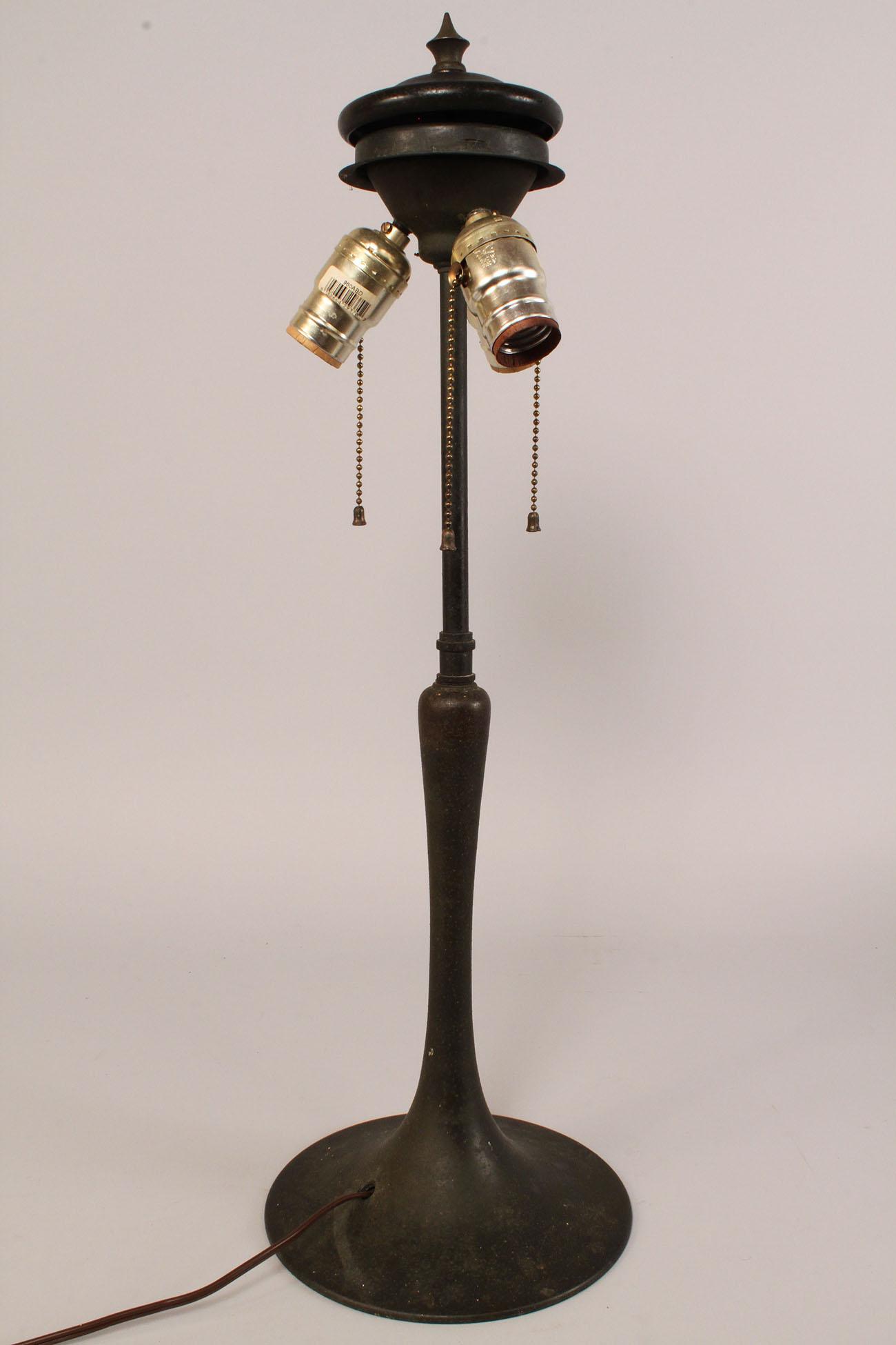 Lot 171: Art Nouveau Leaded Glass Dome Lamp, Pink Flowers