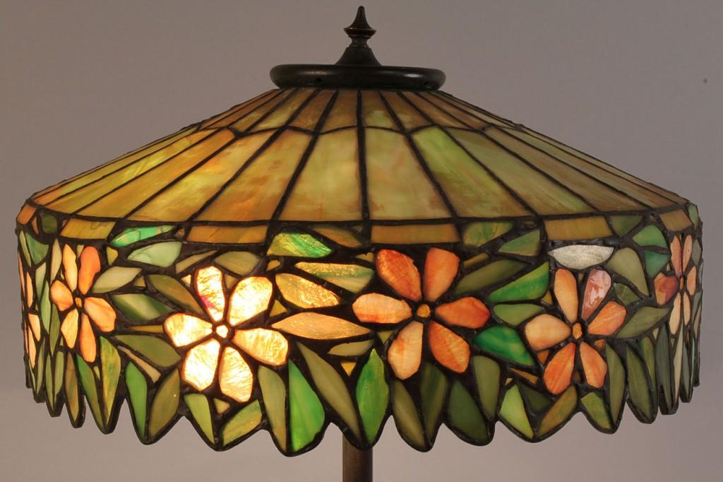 Lot 172: Art Nouveau Leaded Glass Lamp, multicolored flowers