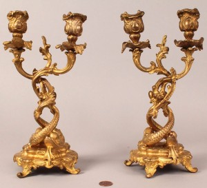 Lot 176: Pair of Gilt Bronze Dolphin Figural Candleabra