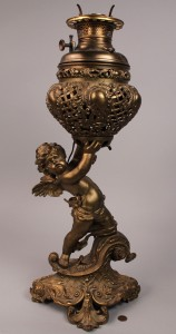Lot 177: Victorian Winged Cherub Parlor Lamp