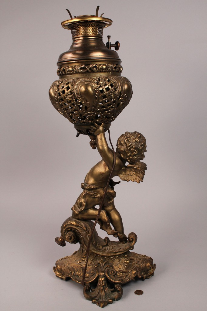 Lot 177 Victorian Winged Cherub Parlor Lamp