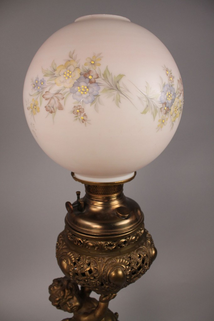 Lot 177: Victorian Winged Cherub Parlor Lamp