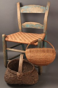 Lot 17: East TN childs chair and TN baskets, 3 pcs.