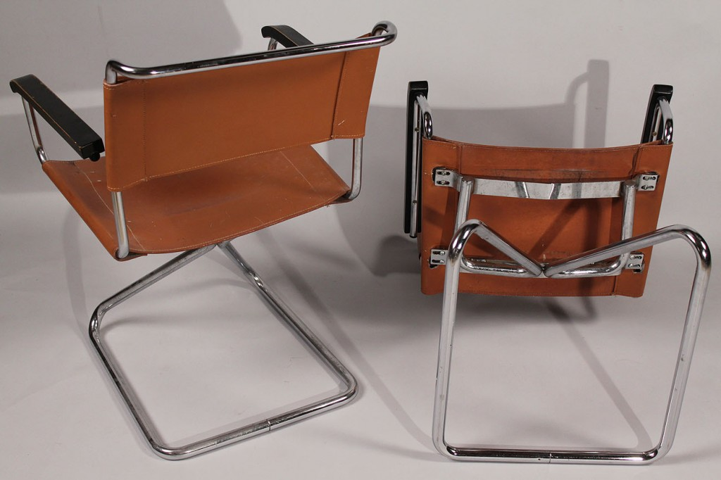 Lot 181: Pair Thonet type tubular steel cantilever chairs