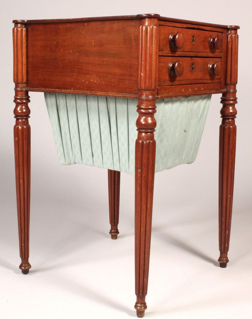 Lot 185: Sheraton Mahogany Sewing Table