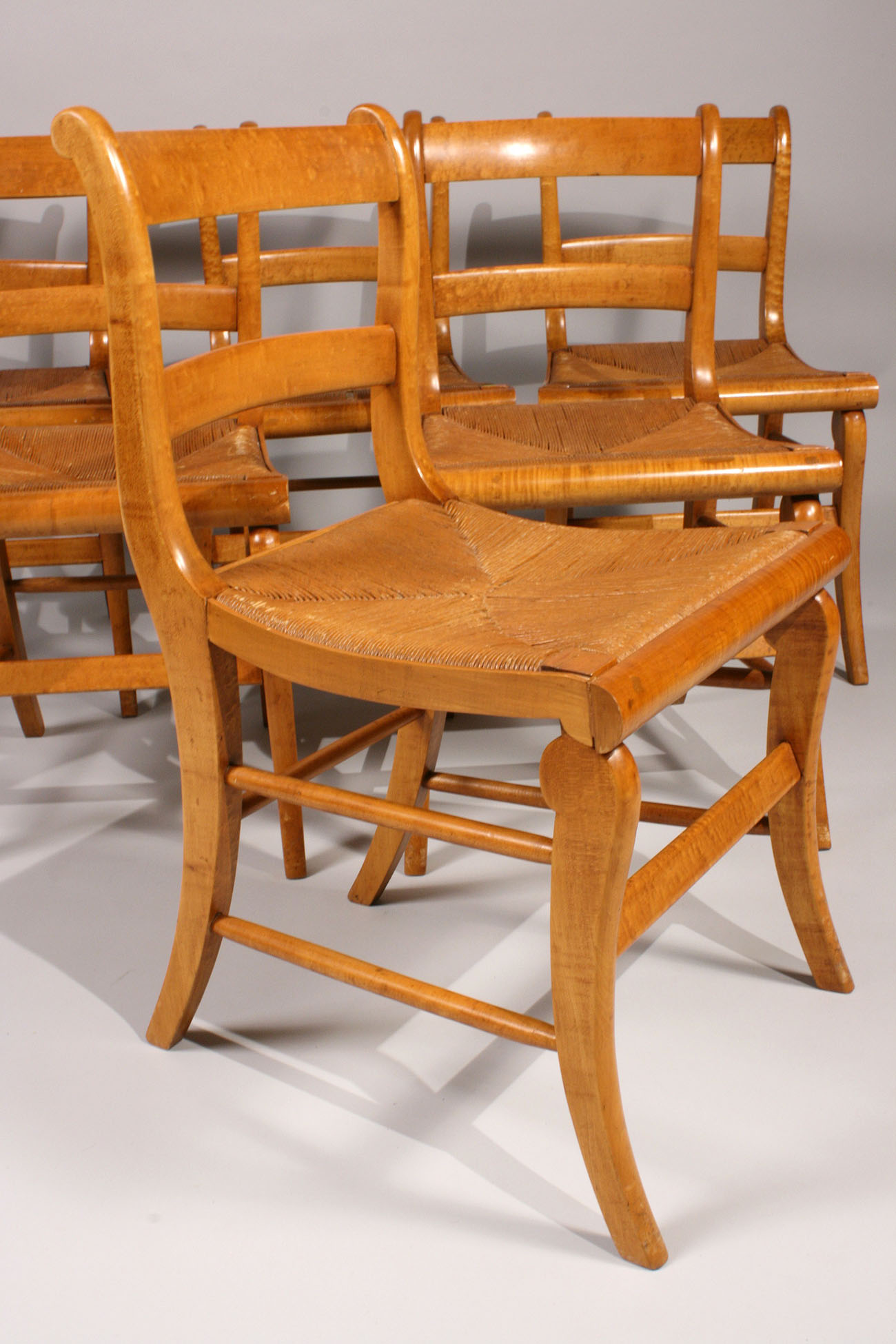 Lot 186 Lot of 6 Classical Tiger Maple Chairs