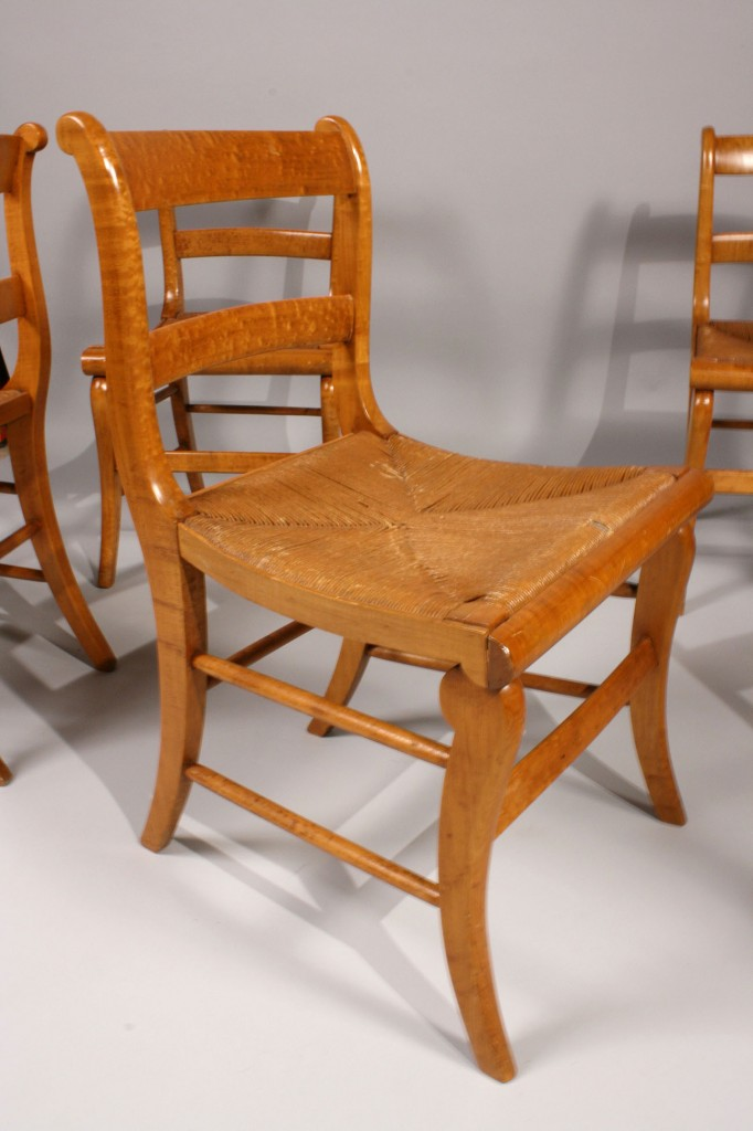 Lot 186: Lot of 6 Classical Tiger Maple  Chairs