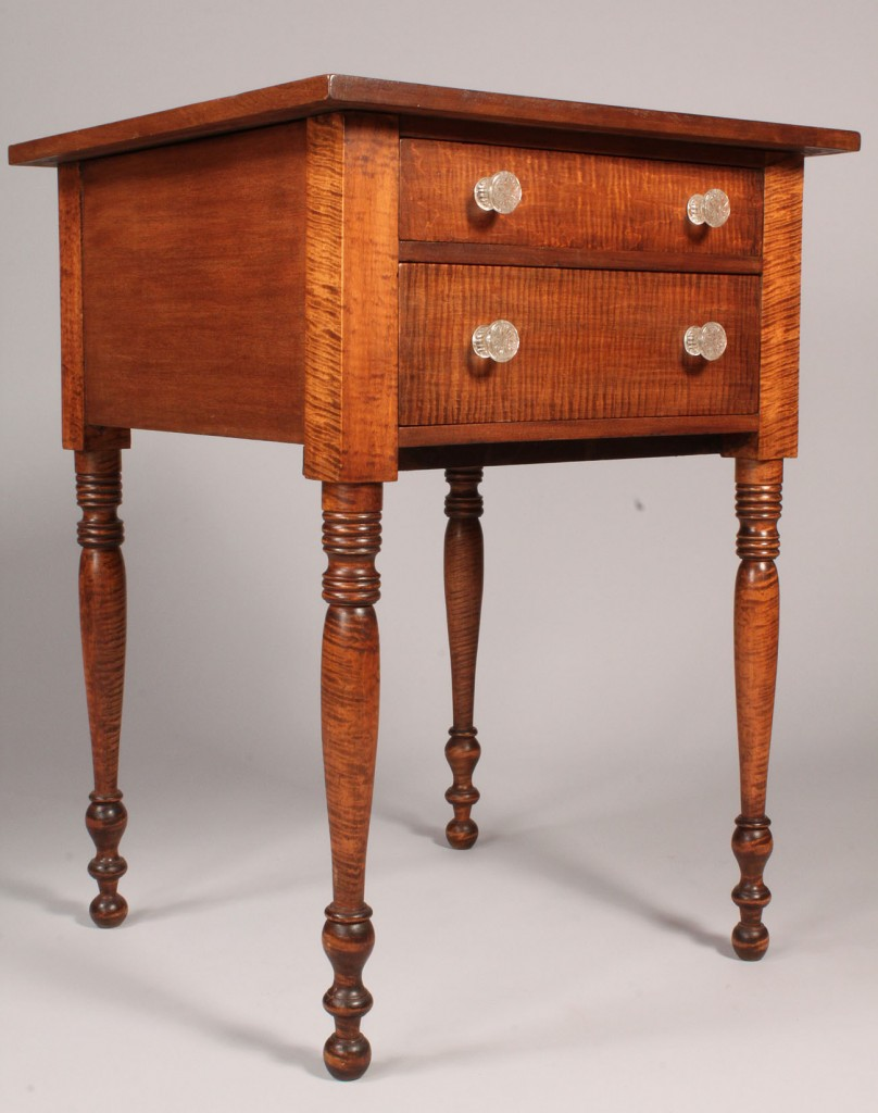 Lot 188: Tiger maple Sheraton two drawer stand