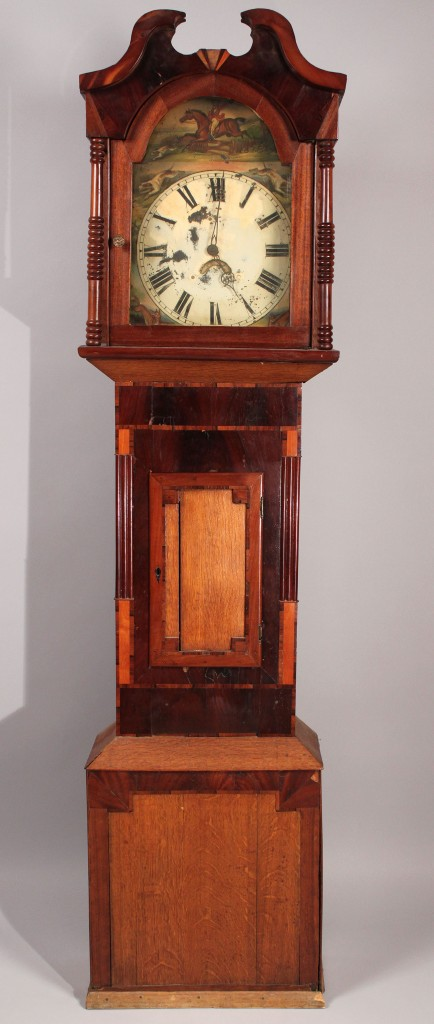 Lot 190: Tall Case Clock with hunting scene and mixed woods