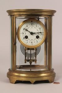 Lot 191: Tiffany & Co. Brass & Glass Mantel Clock