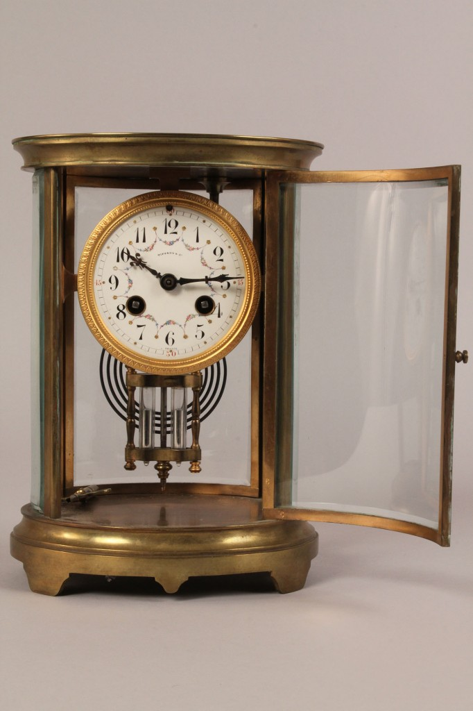 Lot 191: Tiffany & Co. Brass & Glass Mantel Clock