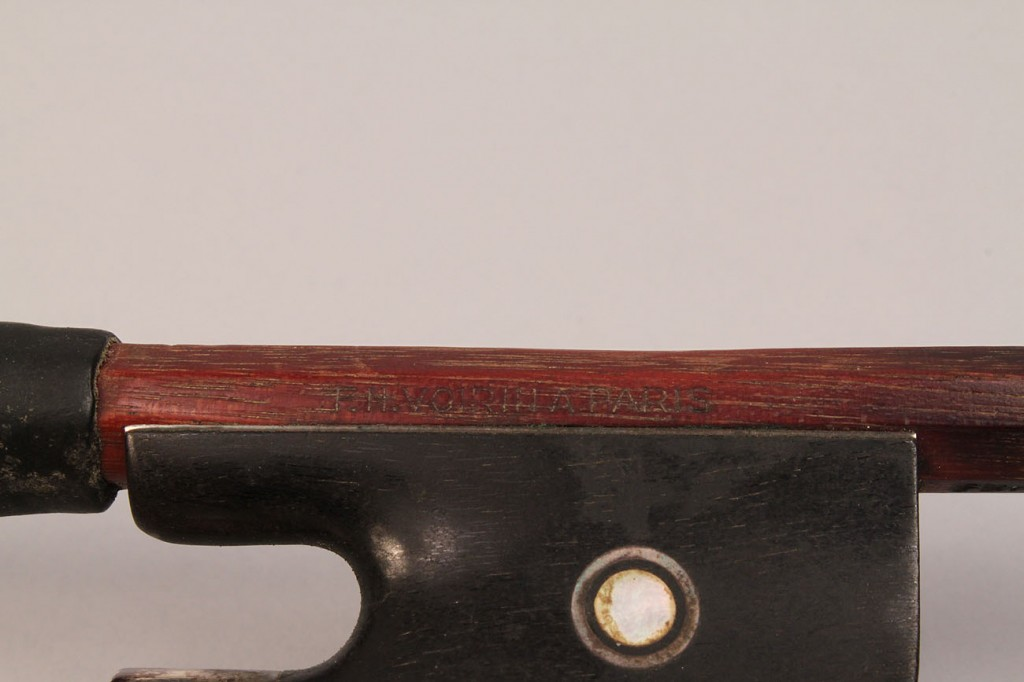 Lot 195: Viola bow F. Voirin and violin bow Oskar Seifert