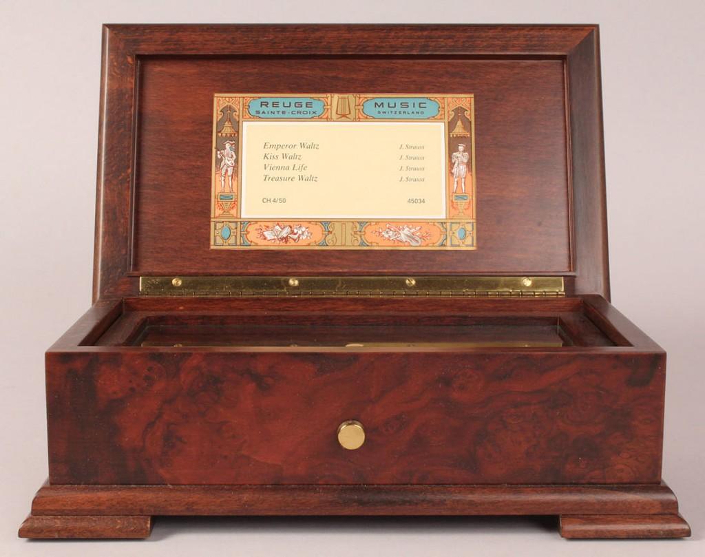 Lot 197: Reuge Inlaid Swiss Music Box, 4 tunes
