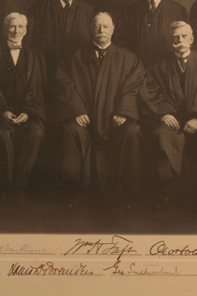 Lot 199: William Taft Supreme Court Signed Photo with other signatures
