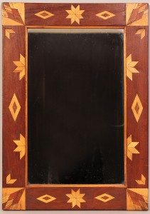 Lot 19: Folk Art/Tramp Art Inlaid Mirror