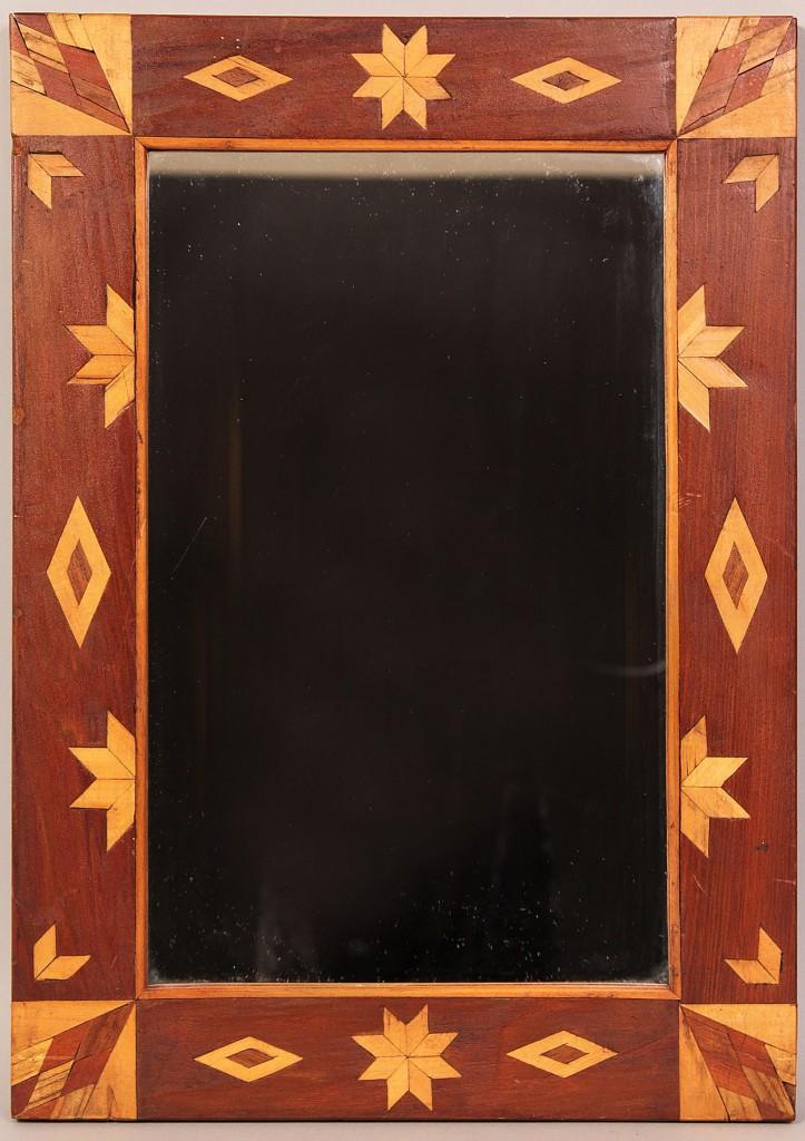 Lot 19: Folk Art/Tramp Art Inlaid Mirror