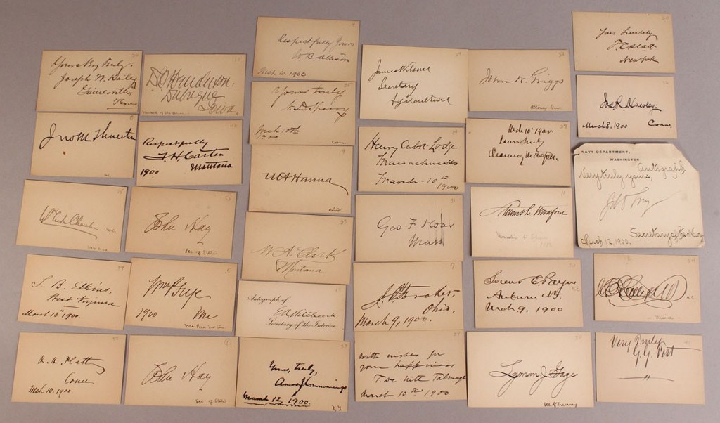 Lot 203: Lot of 31 American political autographed cards, c.1900
