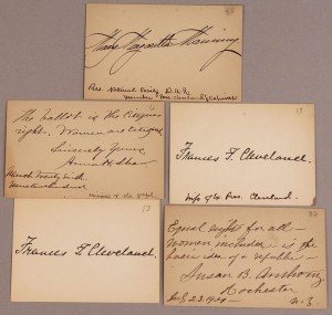 Lot 204: Five autographed cards inc. Susan B. Anthony