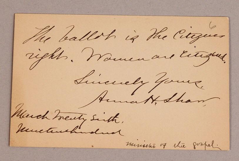 Lot 204: Five autographed cards inc. Susan B. Anthony