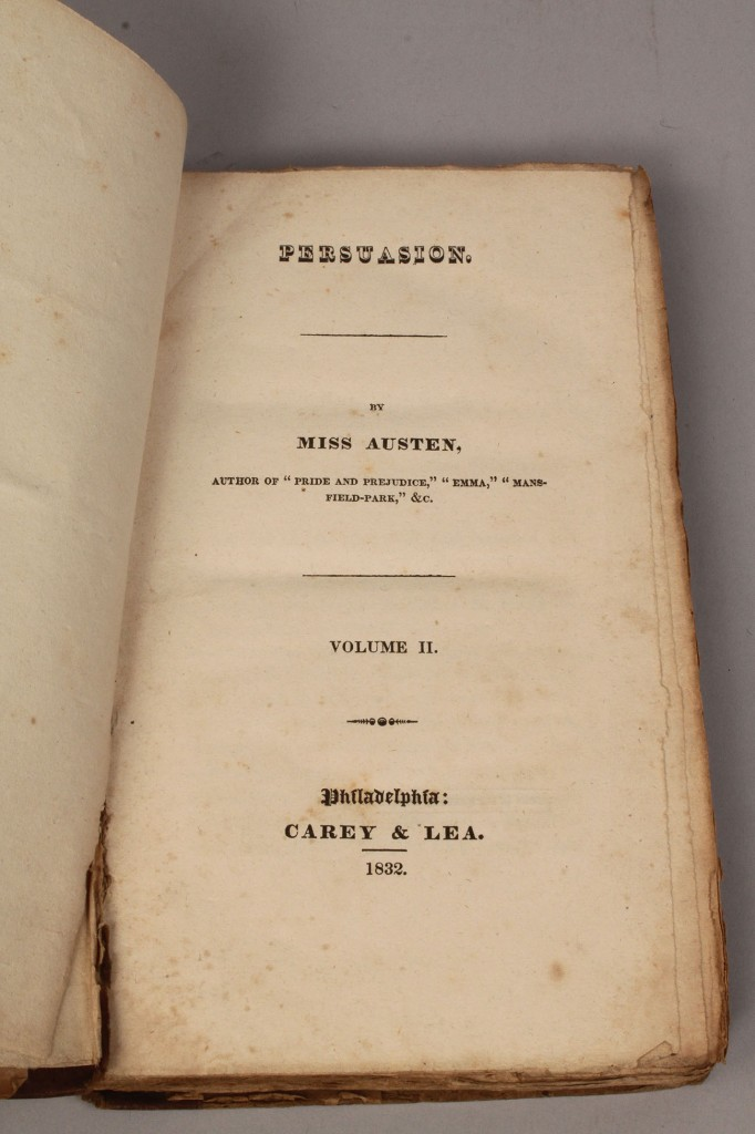 "Lot 210: Jane Austen ""Persuasion,"" 1st US Ed., 2 vol."