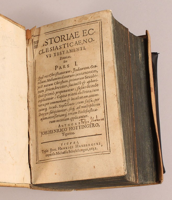 "Lot 212: Johann H. Hottinger ""Historiae Ecclesiasticae No. VI Testamenti"", 1651"