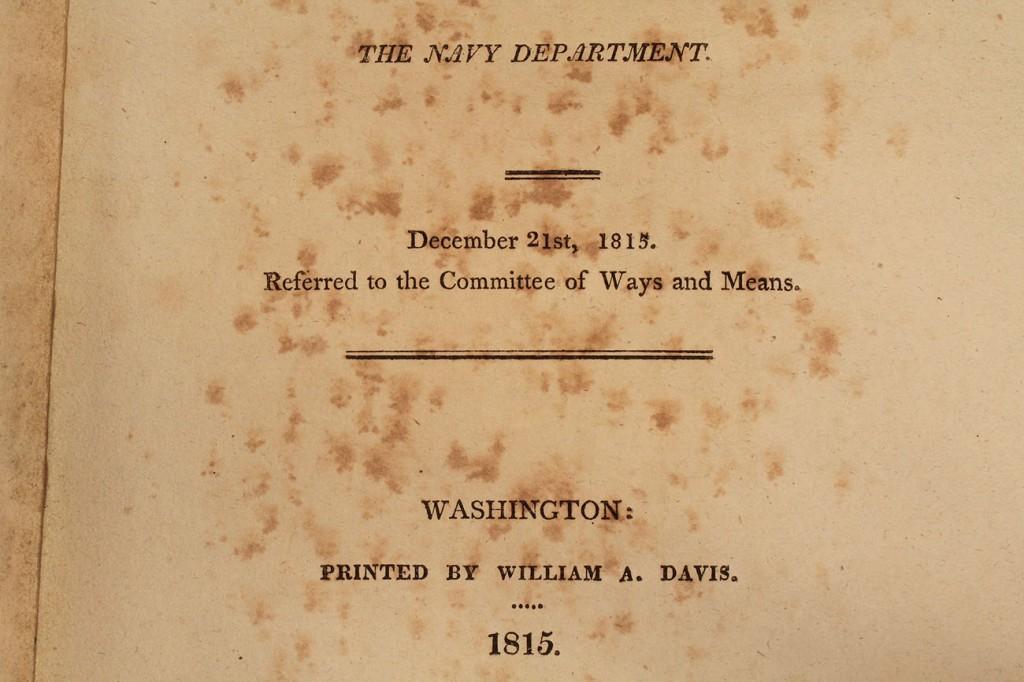 Lot 215: 1815 Secretary of the Navy Report