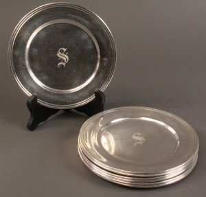 Lot 221: Set of 8 S. Kirk & Son Sterling Bread Plates