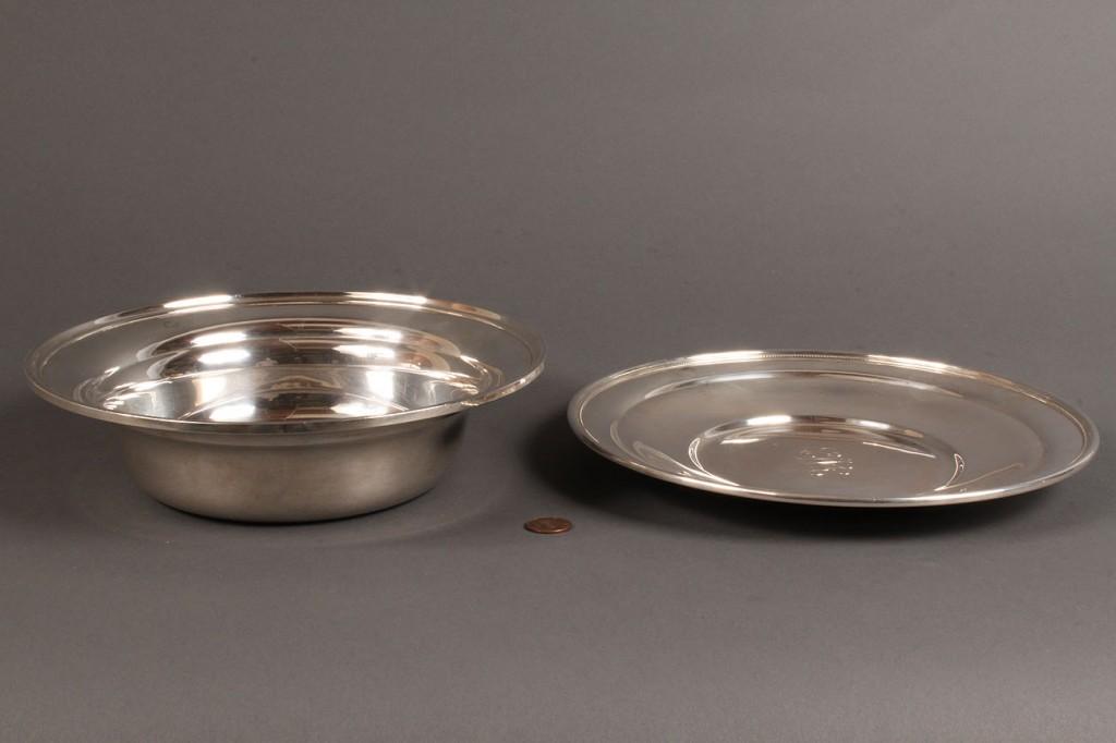 Lot 222: 2 pieces Kirk & Son silver hollowware