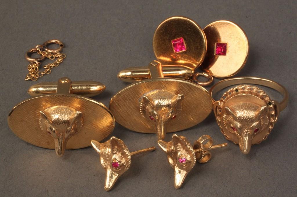 Lot 238: Lot of 14K Fox motif jewelry