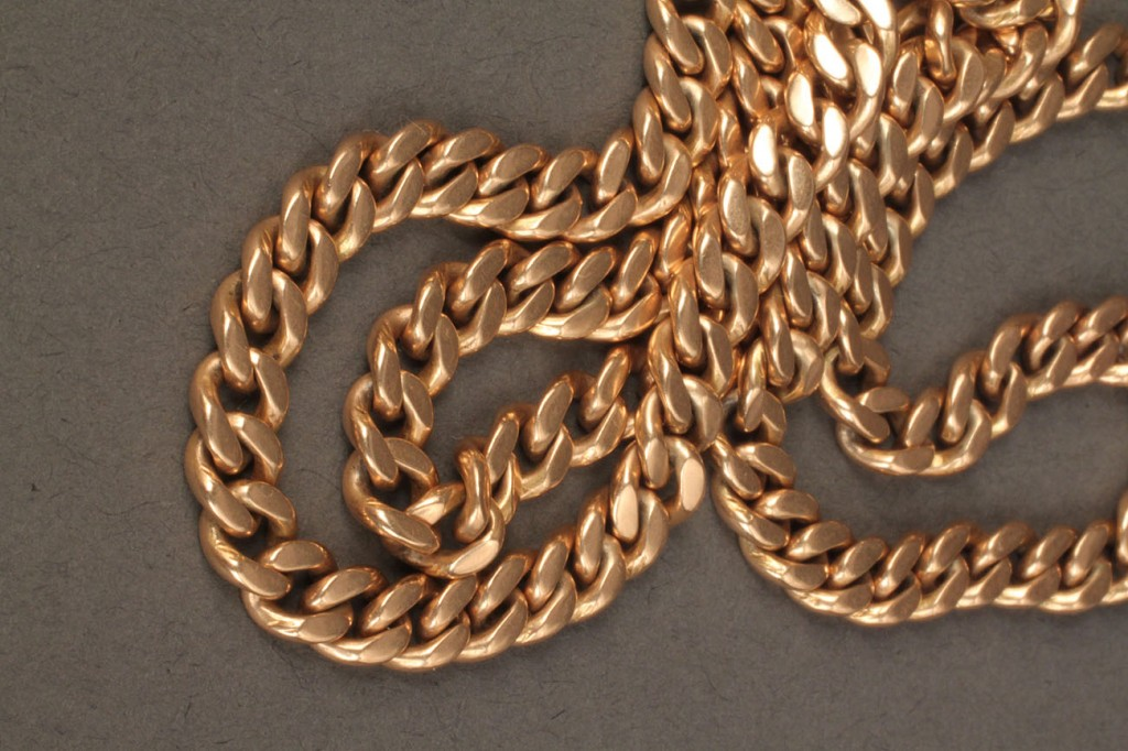 Lot 239: Two 14K gold link necklaces