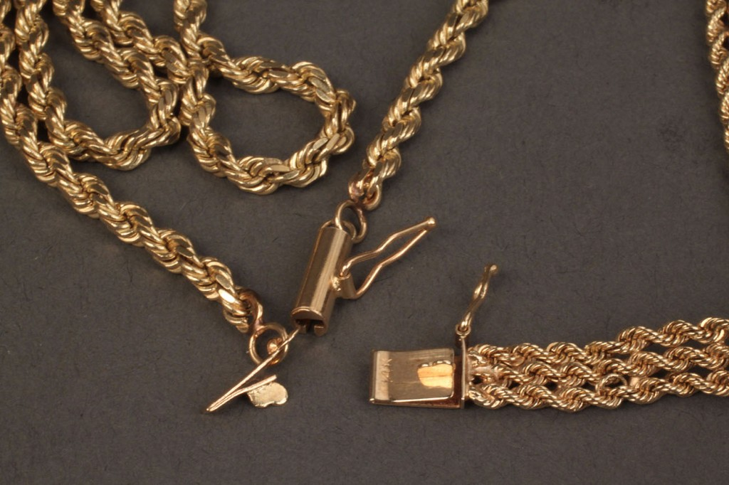 Lot 240:  14K yellow gold rope chain necklace & bracelet