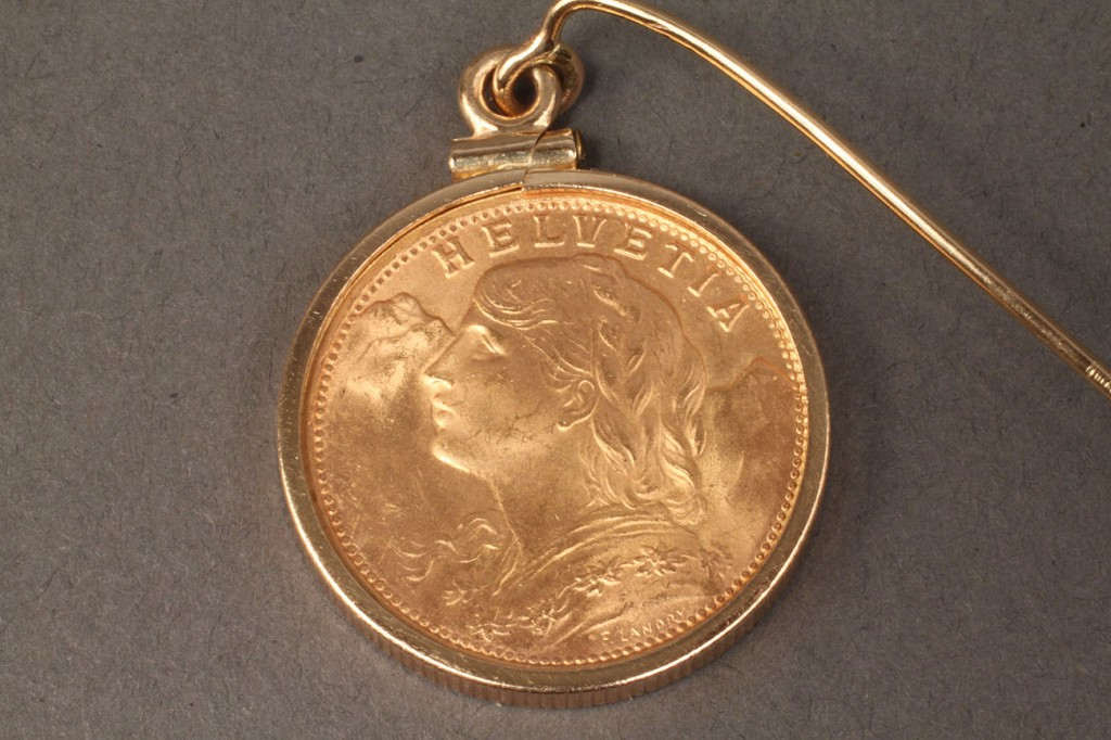 Lot 243: Gold 1935 Helvetia 20 Franc Coin Stick Pin or Pendant
