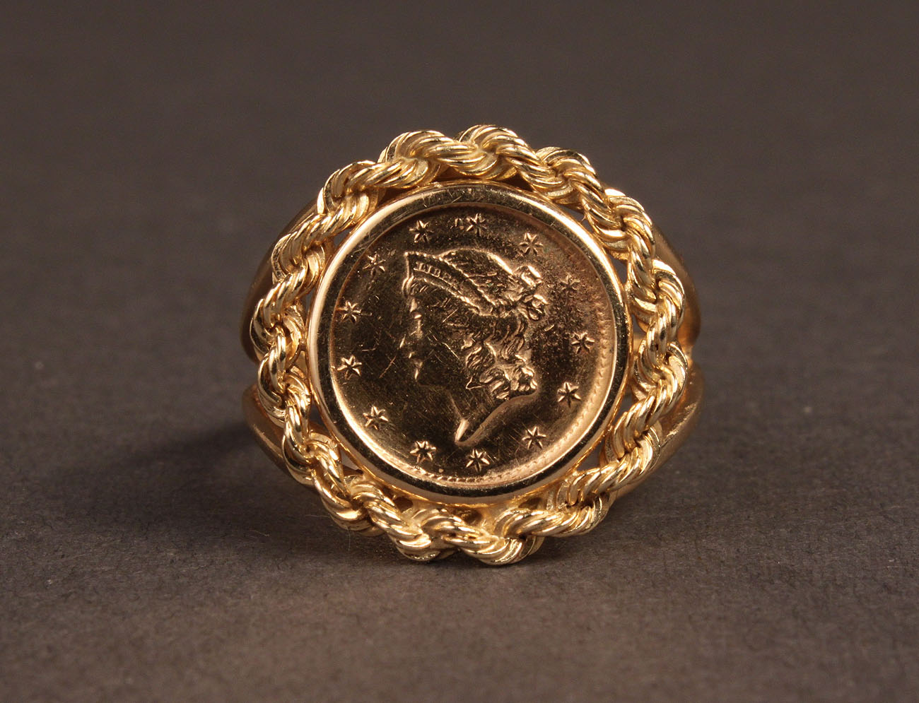 lot 244 14k gold coin ring