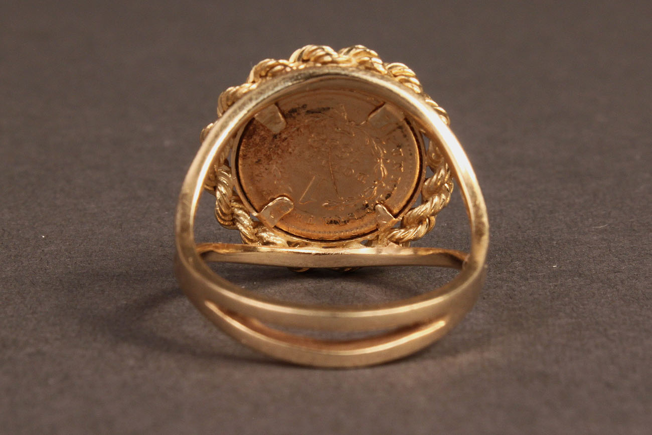 Lot 244 Ladies 14k Gold Coin Ring