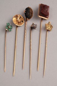 Lot 245: Lot of 6 various gold stick pins