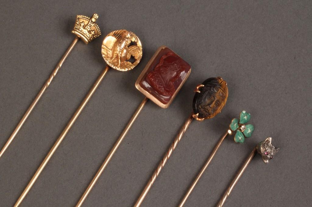 Lot 245: Lot of 6 various gold stick pins