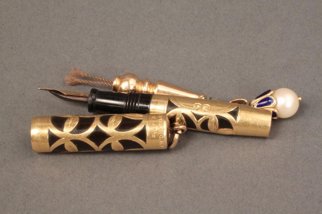 Lot 247: 3 pendants: Fountain Pen, Pencil & enamel