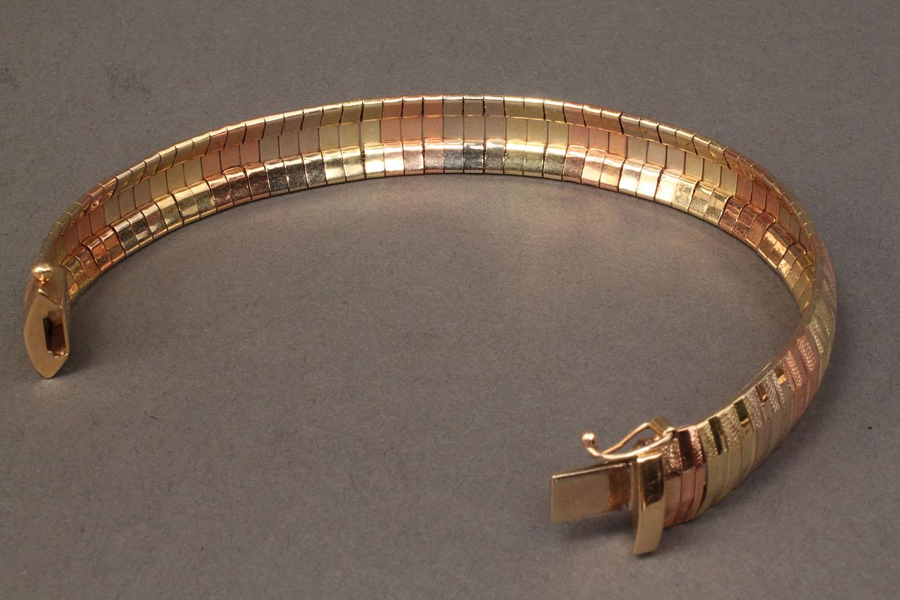 Lot 248 14k Tri Color Mesh Bracelet