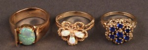 Lot 249: Lot of 3 Ladies 14K Rings: 2 opal, 1 blue stone