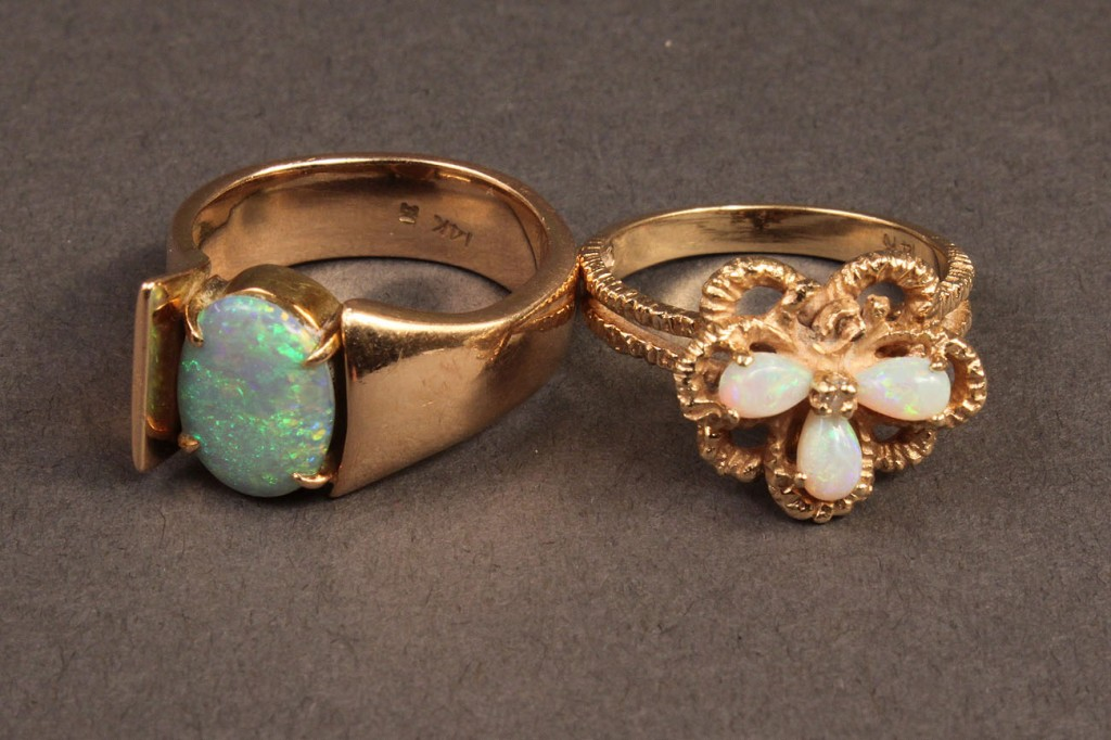 Lot 249: Lot of 3 Ladies 14K Rings: 2 opal, 1 blue stone