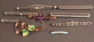 Lot 251: Lot of 9 14K Pins, various stones & enamel