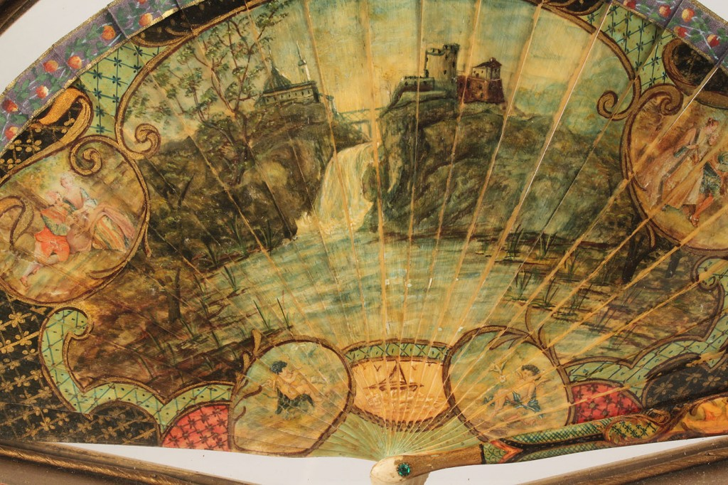 Lot 257: Hand-painted ivory fan, 19th c., in case