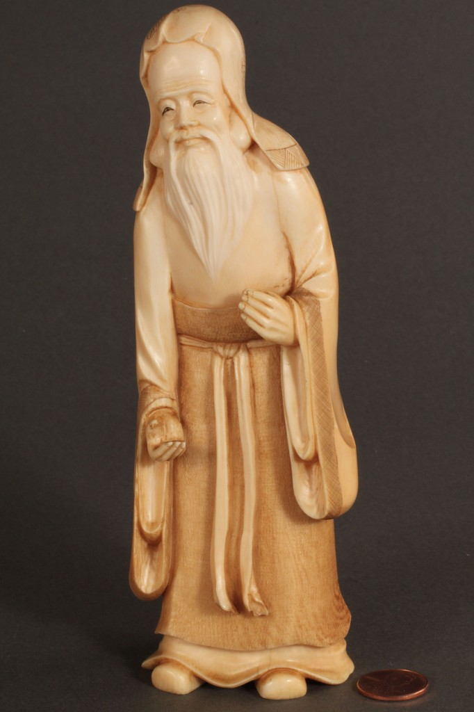 Lot 264: Lot of 2 Asian Carved Ivory Figures of Scholars