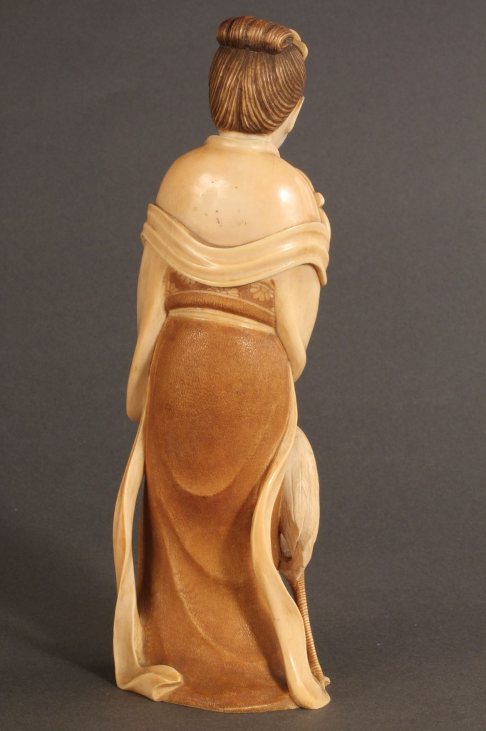 Lot 268: Asian Ivory figure, Maiden with Fan and Crane